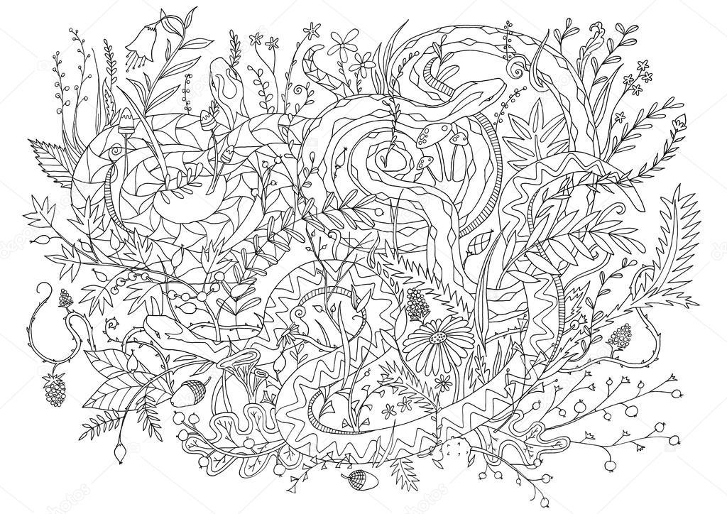 Serpientes de Viper camuflados en la vegetación y arbustos. Página ...