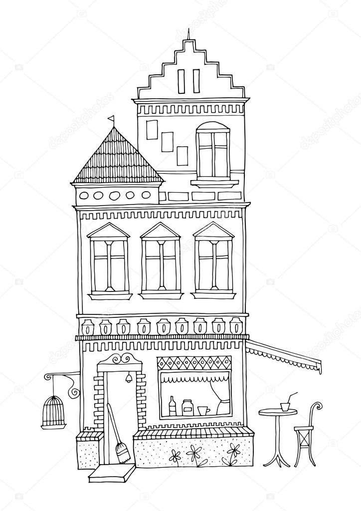 Dibujos: casa de dos plantas para colorear | Casa holandesa de alto ...