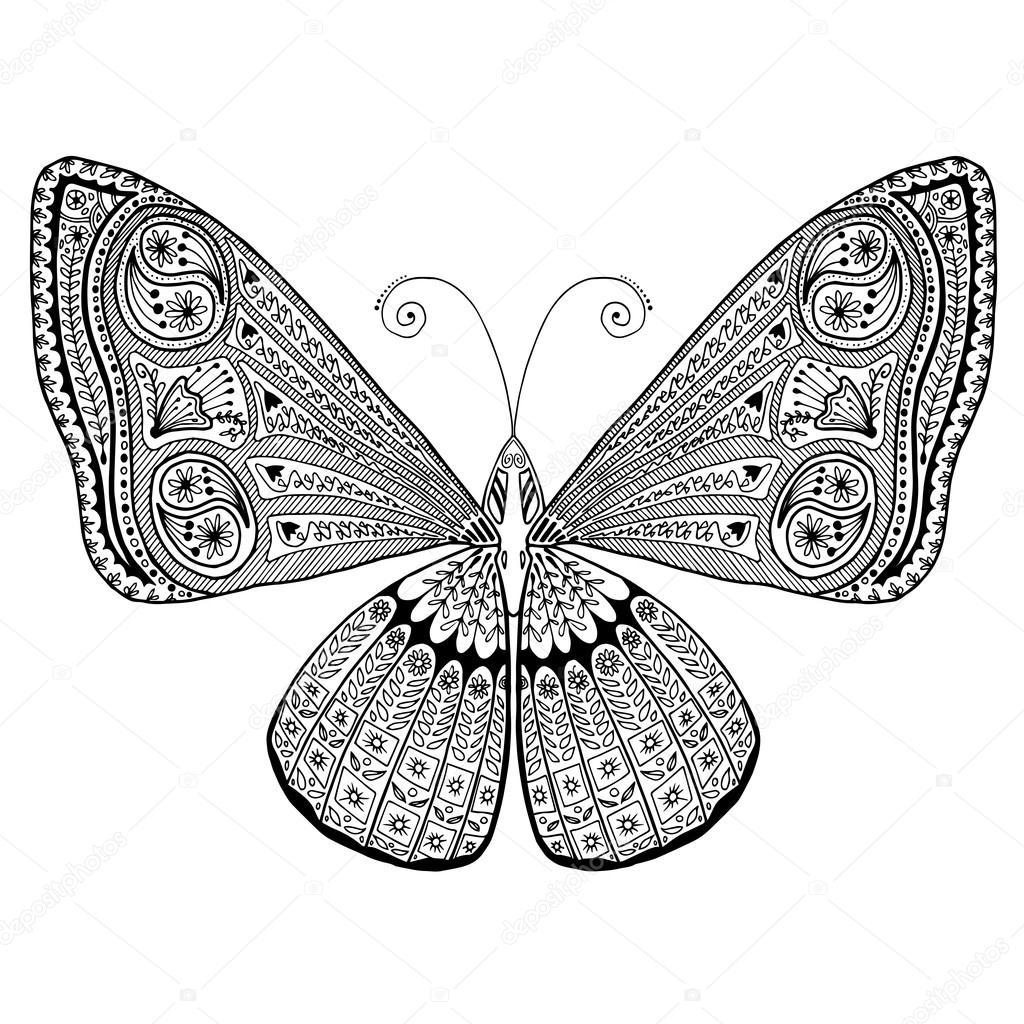 Mariposa con detalles intrincados ala. Ilustración conveniente para ...