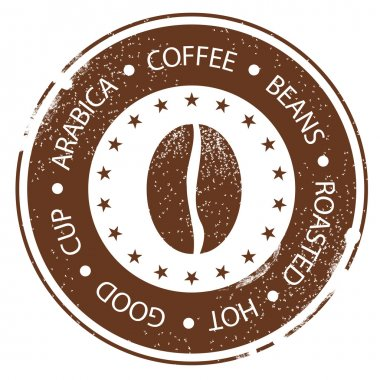 Coffee Bean Design. Vintage Menu Stamp. Hot, Roasted, Good, Cup Distressed Round Label