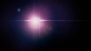 Lens flare camera photography light effect. Pink, blue and white blurry lines, spots, specs, dots, glare on dark black for backgrounds, wallpapers, photos and web use