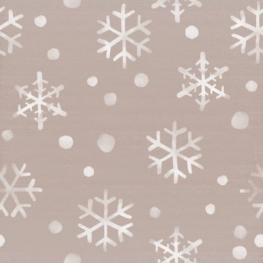 White watercolor snowflakes falling down on cardboard background. Winter themed seamless pattern