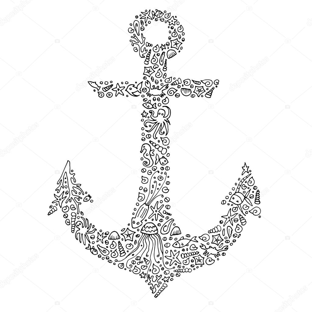 Anchor coloring page for adults | Zentangle hand-drawn ...