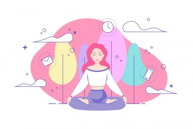 Vector woman practices yoga and meditates in the lotus position with a beautiful view of a natural park. Recovery after a hard day's work and information pollution. Rest from email addiction.