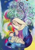 Jungfrau Maria und Jesuskind. Aquarellmalerei.