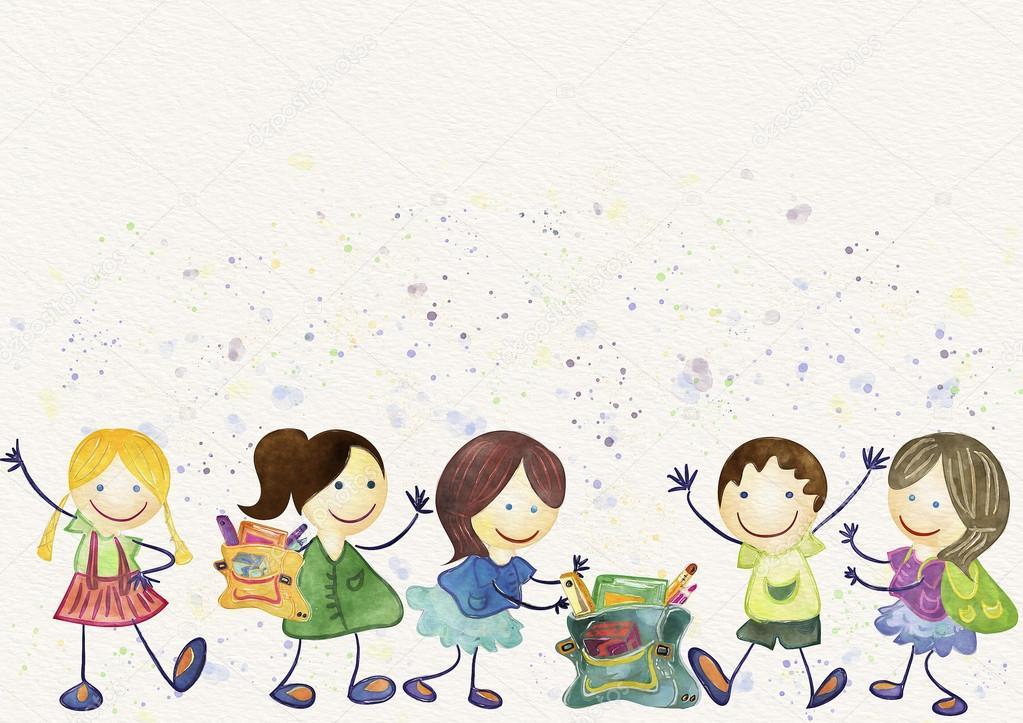 back to school background schoolchildren watercolor