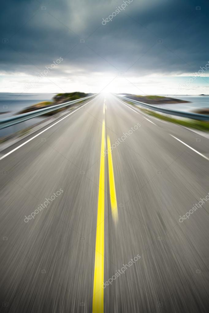 Coastal highway road in motion