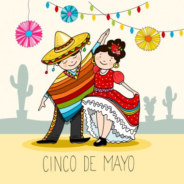 Mexican Dancers, greeting card for the for cinco de mayo holiday