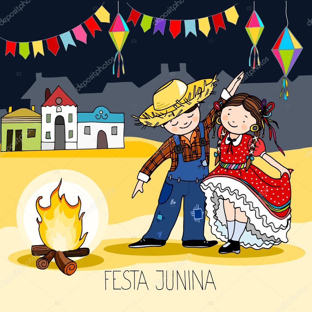 Boy And Girl Dancing By The Fire Brazilian June Festa Junina