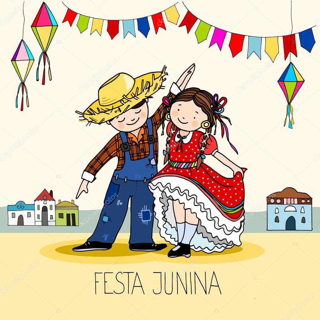 Boy And Girl Dancing At The Brazilian June Festa Junina Party