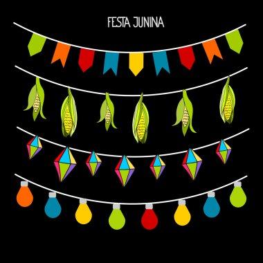 Set of garlands for Brazilian Festa Junina party, celebration, vector illustration
