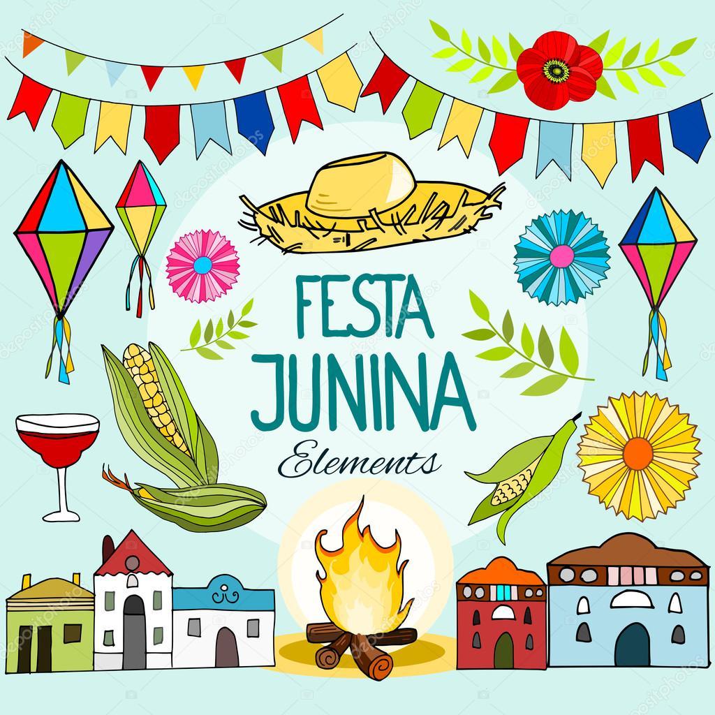 Set Von Brasilianischen Festa Junina Party Feier Elemente