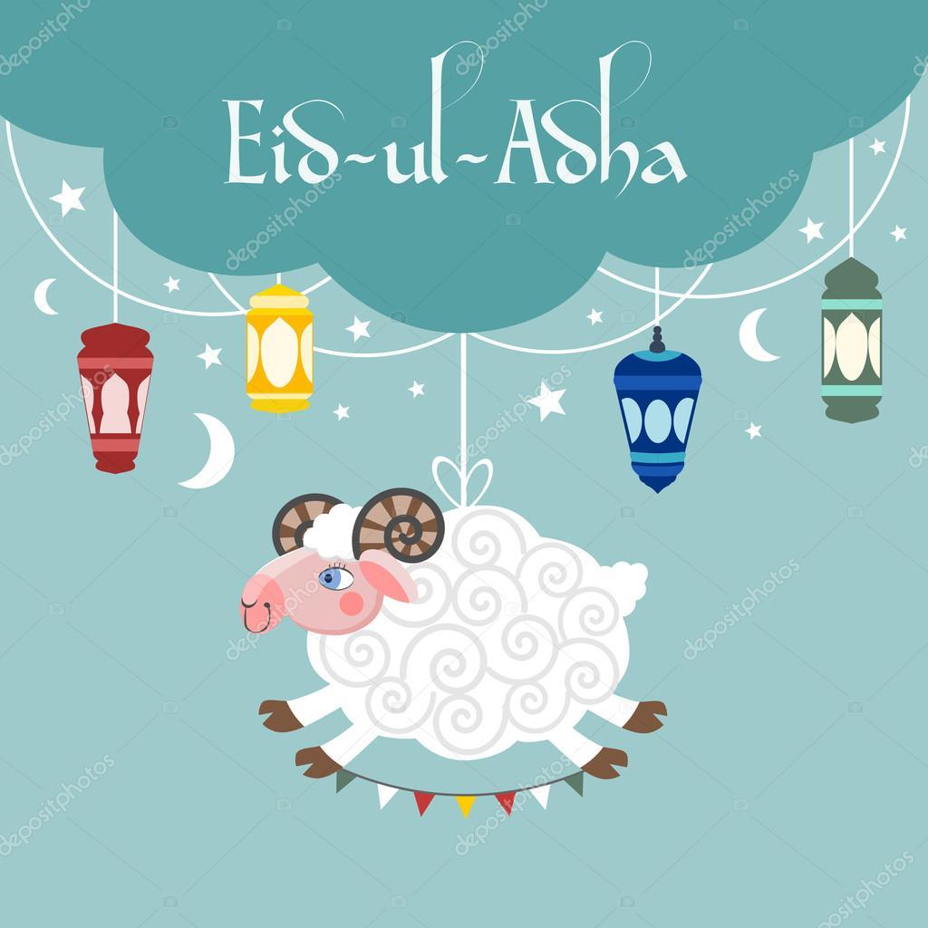 Muçulmano Festival Eid Ul Adha Convite Com Uma Ovelha Lâmpadas E