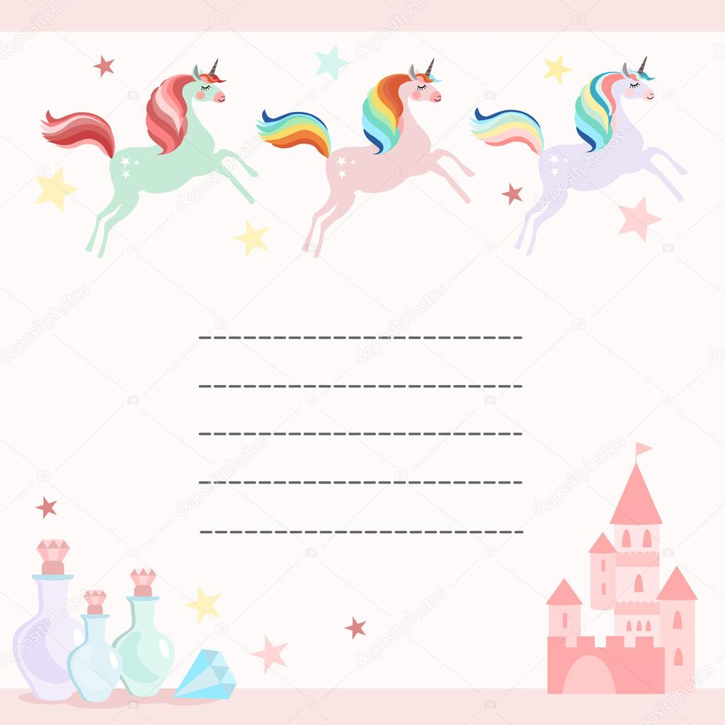 Fairy birthday party greeting card, invitation with unicorns, castle ...