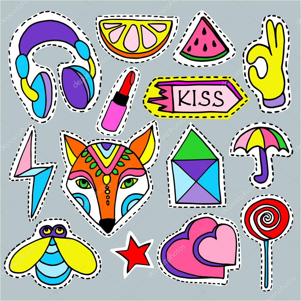 Cartoon Patch Badges Collection Fashion Pin Badges Vector Image By C Lilam8 Vector Stock 124125642