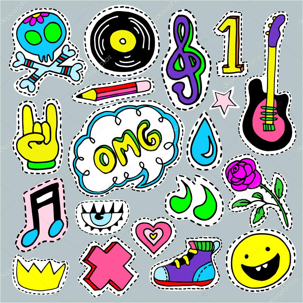 Music Cartoon Patch Badges Fashion Pin Badges Vector Image By C Lilam8 Vector Stock 124125644