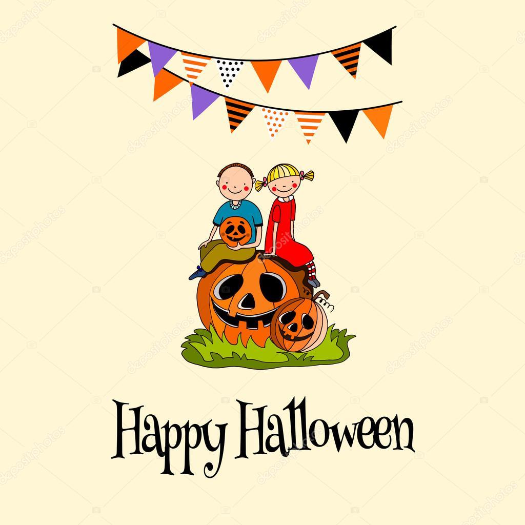 Kinder Sitzen Auf Einem Kürbis Mit Flaggen Oben, Halloween Gruß,  Einladungskarte U2014 Stockvektor #124125778