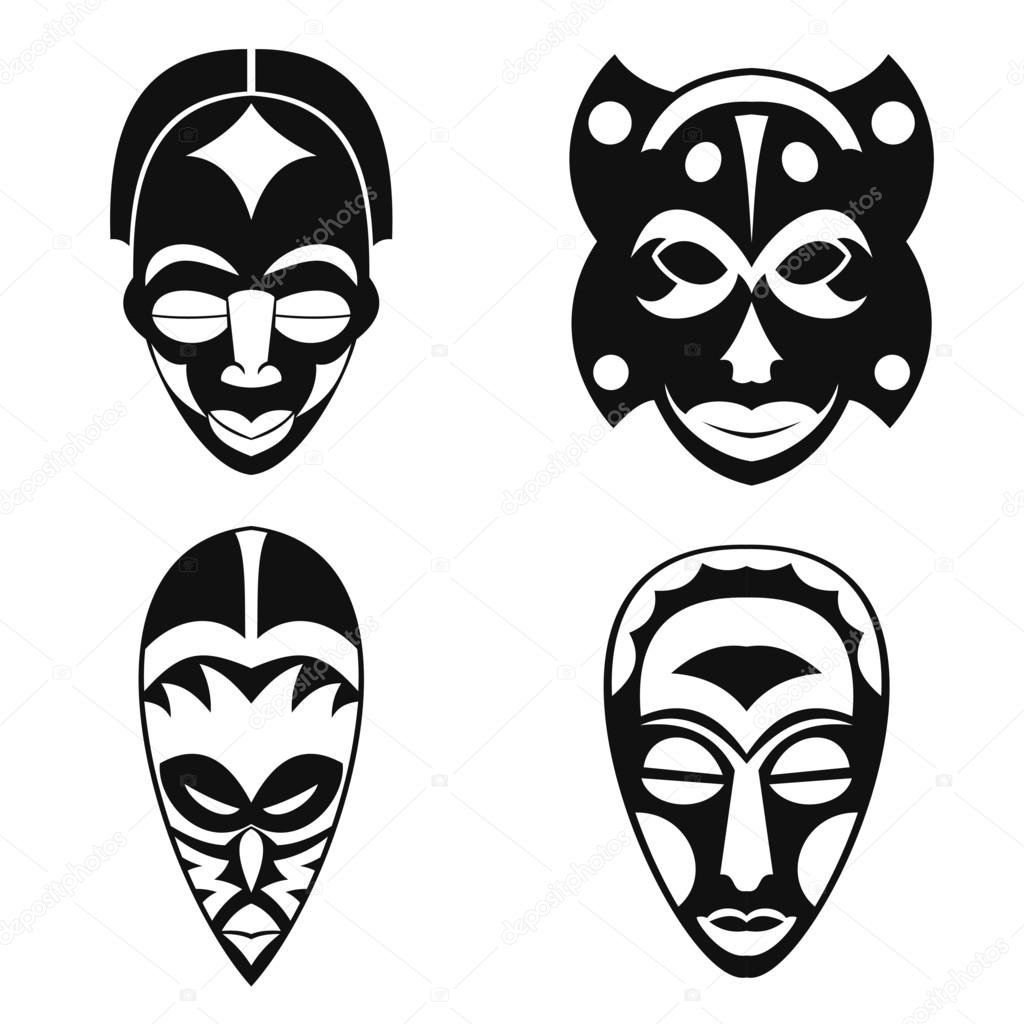 Set of african ethnic tribal masks on white background stock set of african ethnic tribal masks on white background flat icons ritual symbols vector by keltmd biocorpaavc Image collections