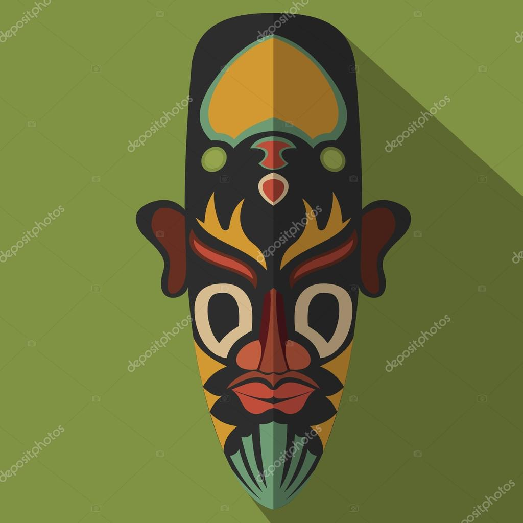 African Ethnic Tribal Mask In Color Background Stock Vector