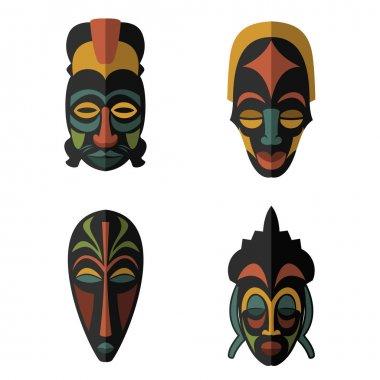 Set of African Ethnic Tribal masks on white background