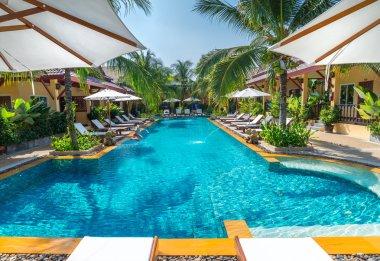 Swimming pool in public tropical resort