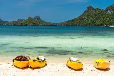 kayaks on a beach at Angthong national marine park