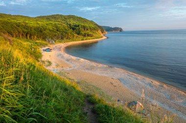 camping on the beach of russian isle Putyatin