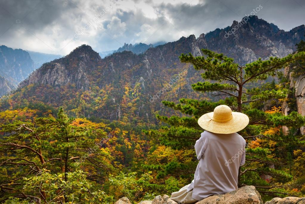 Buddhist monk meditating at seorak mountains