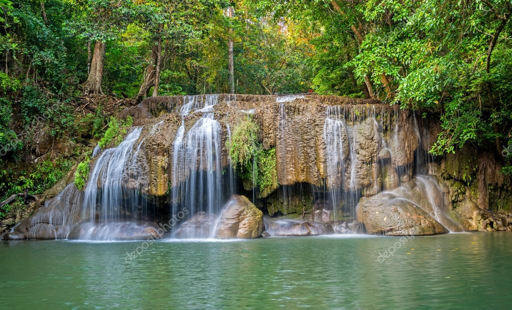 Jungle landscape with flowing turquoise water