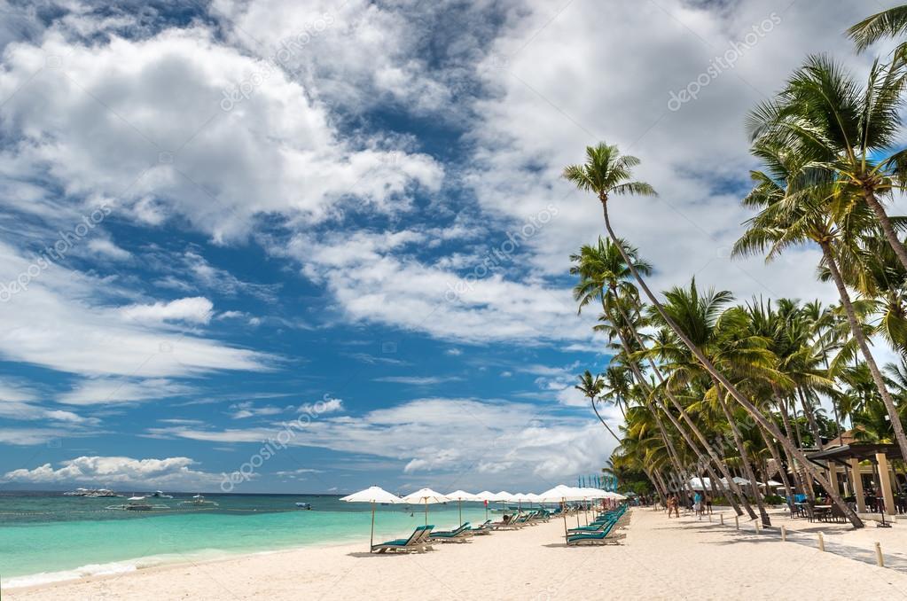 Alona Beach at Panglao Bohol island with Beach chairs