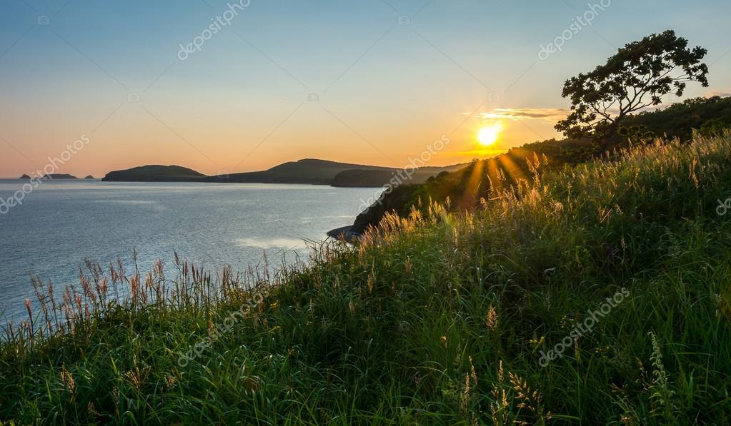 sunset at russian isle Putyatin