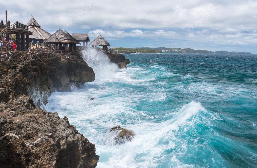 Big waves at Crystal Cove small island