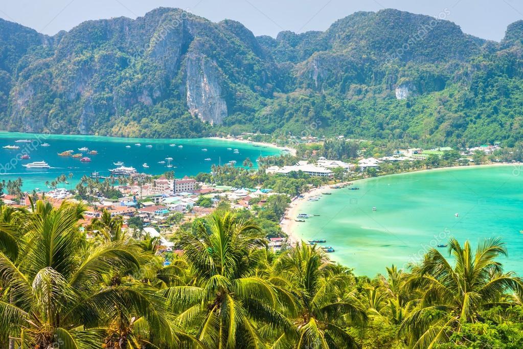 Tropical island and ocean shore