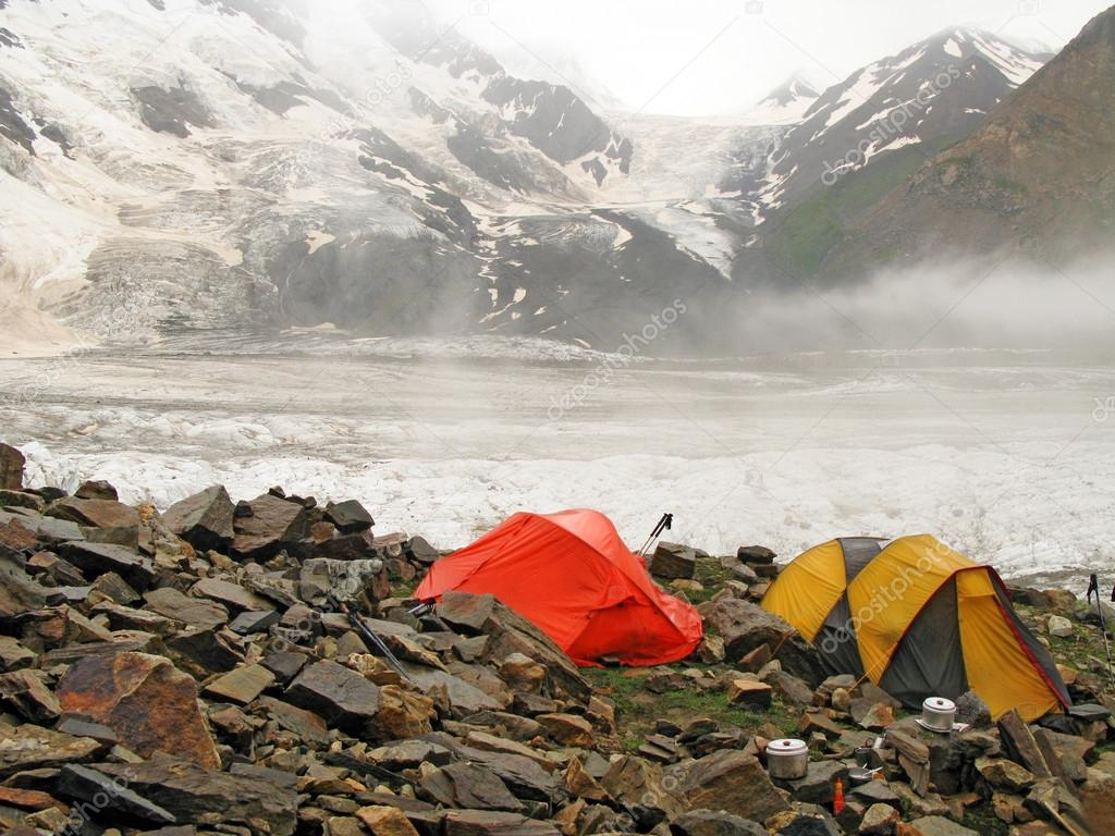 Tourist tents in mountains