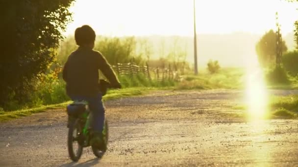 child rides by bike in freedom in a beautiful light at sunset in the countryside