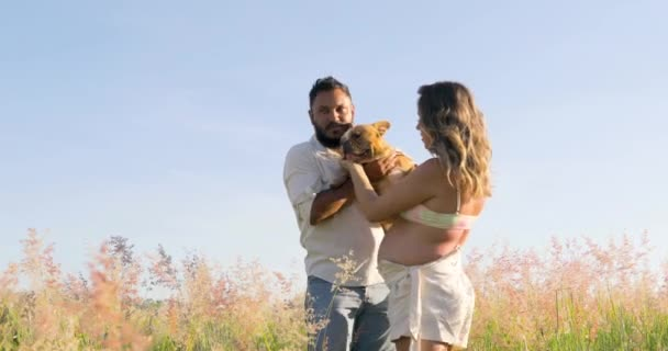 Couple playing with their pet dog, putting him on his pregnant belly to hear the little brother who will be born, very beautiful, wonderful landscape.