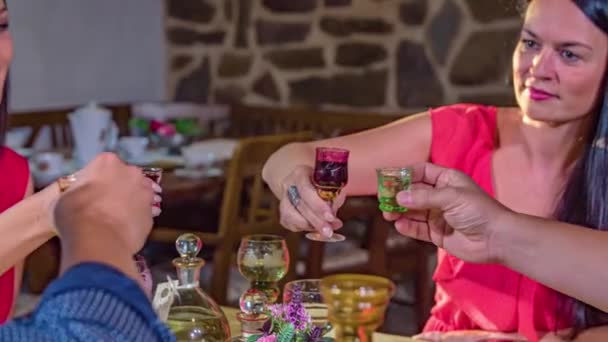 Two couples toast with a drink in relaxed atmosphere in an old rustic restaurant. Slow Motion Tracking shot.