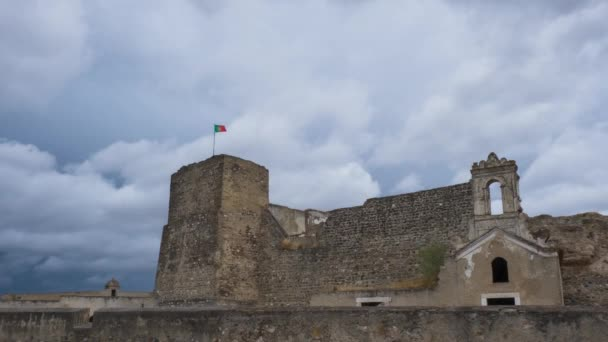 Time-lapse of Juromenha Castle on cloudy day, Portugal. Low angle