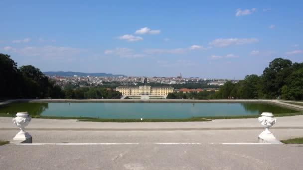 Wide open view of beautiful Schnbrunn Castle in Vienna, Austria during fair weather.