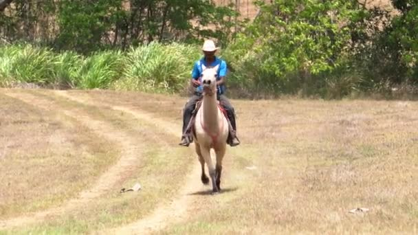 A cowboy in Costa Rica, riding a running horse. Slow motion, from a long shot to a closeup in the same clip.