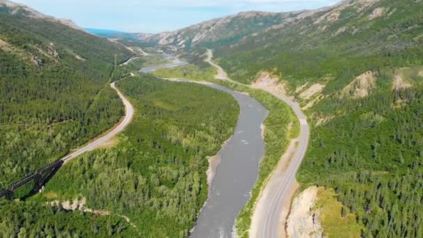 4K Drone Video of Chulitna River, Alaska Railroad and Parks Highway Route 3 near Denali National Park and Preserve, Alaska during Summer
