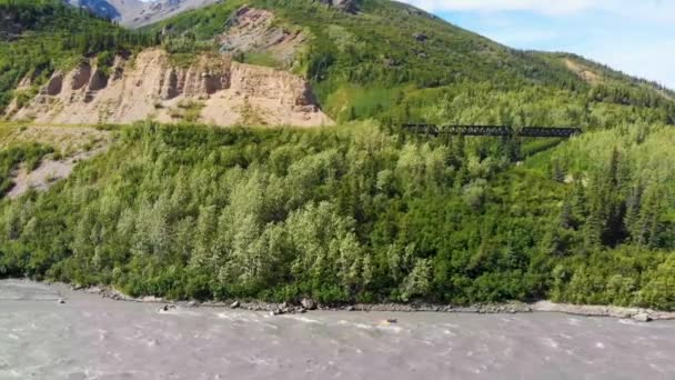 4K Drone Video of Kayaker on Chulitna River near Denali National Park and Preserve, AK during Summer