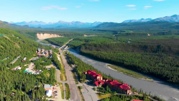 4K Drone Video of Denali Park Village along the Nenana River on the George Parks Highway Alaska Route 3 Near Denali State Park, AK