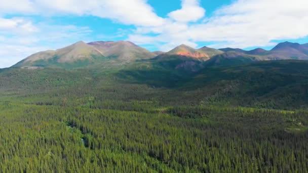 4K Drone Video of Beautiful Mountains along Carlo Creek near Denali National Park and Preserve, Alaska during Summer