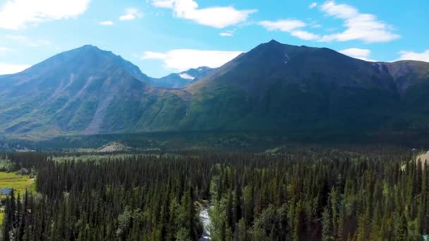 4K Drone Video of Beautiful Mountain Range above Chulitna River near Denali National Park and Preserve, AK during Summer