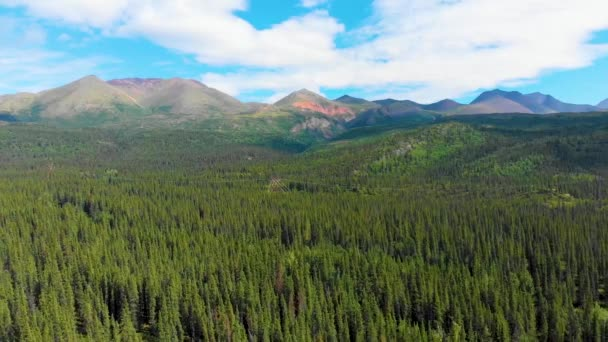 4K Drone Video of Beautiful Mountain Range near Denali National Park and Preserve, AK during Summer