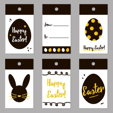 Easter black and gold trendy tags set, collection. Vector easter gift card design for print.
