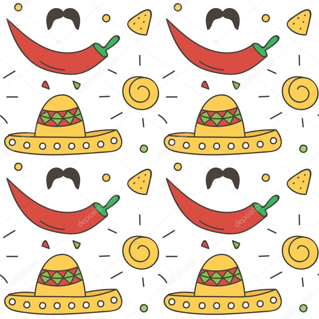 Fondo Mexicano de patrones sin fisuras con sombrero, sol, nachos ...