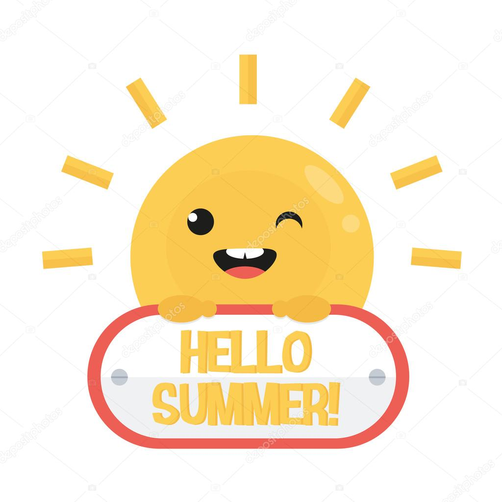 Smiling Funny Cartoon Sun With Sign. Hello Summer Logo. Flat Design. U2014 Stock