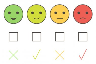 Customer service colorful smiley icons: excellent, good, average, poor.